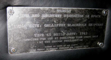 Plaque detailing the type of a TARDIS